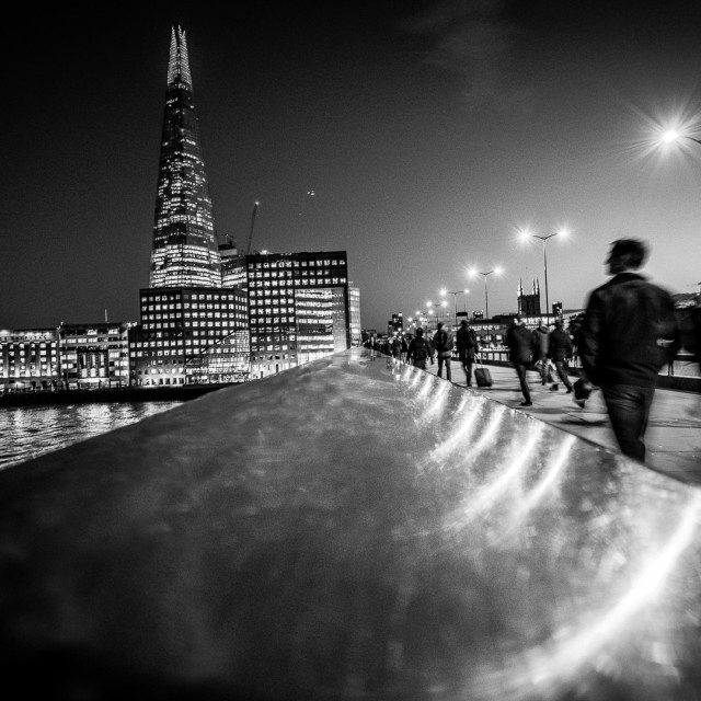 """walking across London Bridge"" stock image"