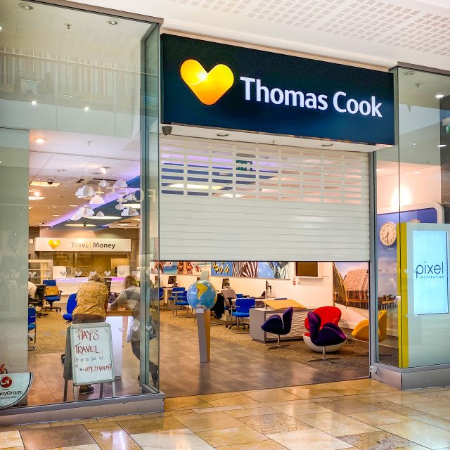 """Thomas Cook shop in Cardiff reopened by Hays Travel (Editorial use only)"" stock image"