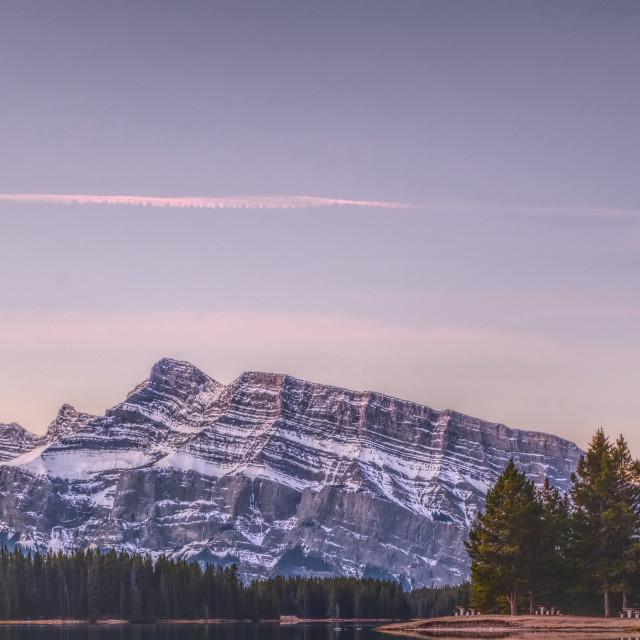 """""""Sunrise at Two Jack Lake"""" stock image"""