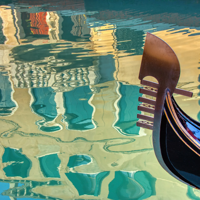 """Venice gondola and reflection in Italy."" stock image"