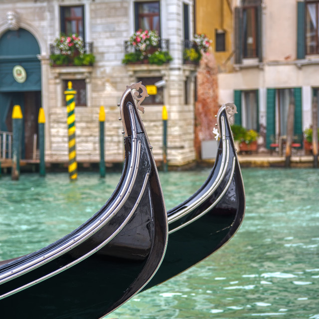 """Two gondolas on Grand Canal in Venice, Italy."" stock image"