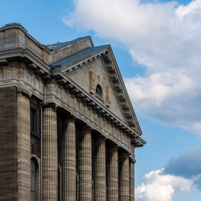 """Detail of pediment of Pergamon Museum in Berlin"" stock image"
