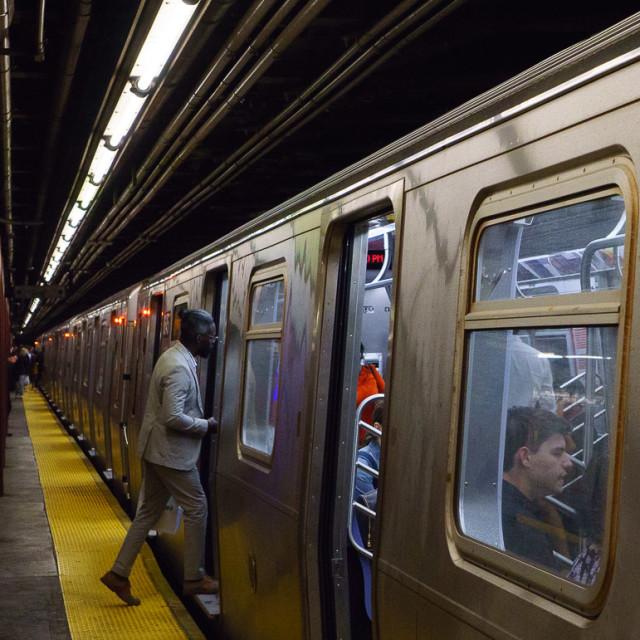 """Boarding Metro"" stock image"