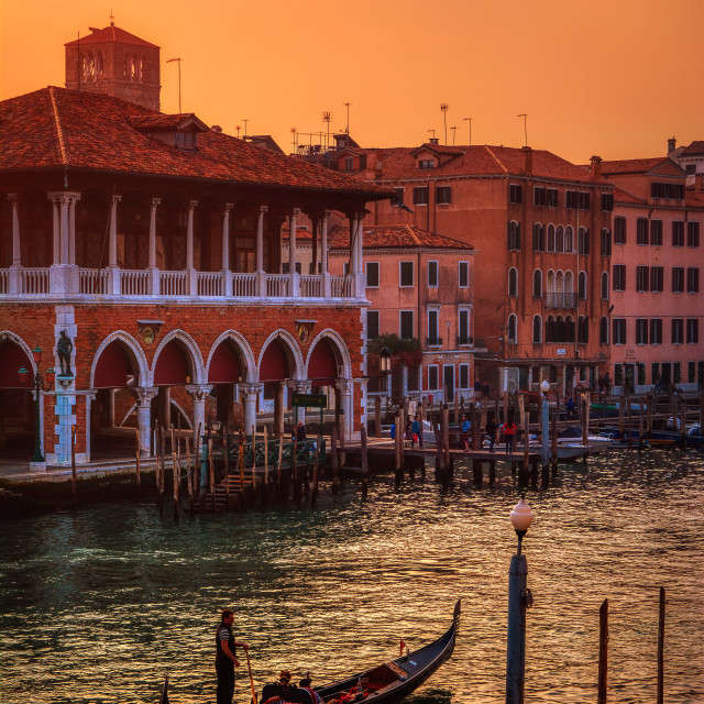"""Traditional Gondola at sunset in Venice, Italy."" stock image"