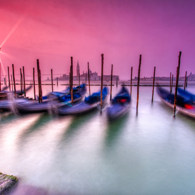 """Gondolas moored by Saint Mark square, Venice, Italy, Europe."" stock image"