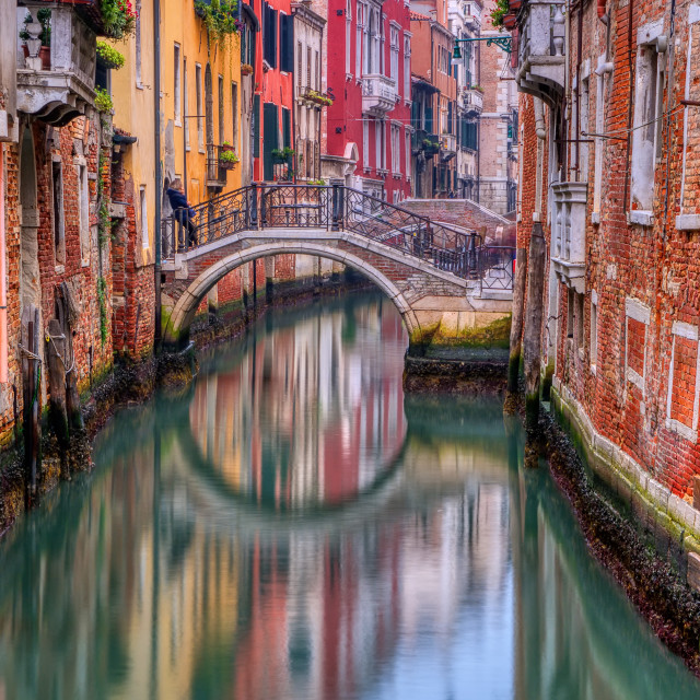 """Lonely canal in Venice at sunrise."" stock image"