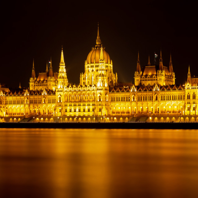 """""""Long exposure night picture from beautiful, famous parliament from Budapest, capital of Hungary"""" stock image"""