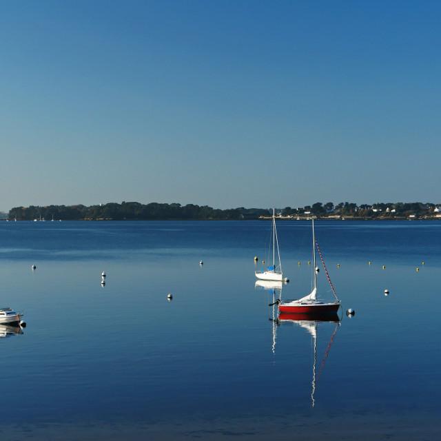 """Morbihan gulf reflection"" stock image"