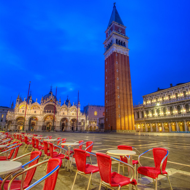 """Saint Mark's square with campanile and basilica in Venice."" stock image"