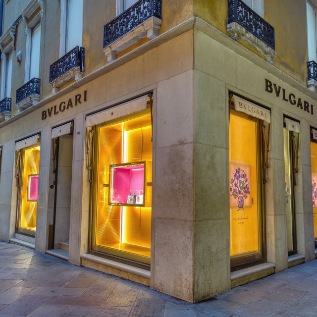"""Facade of BVLGARI store on Venice, Italy."" stock image"
