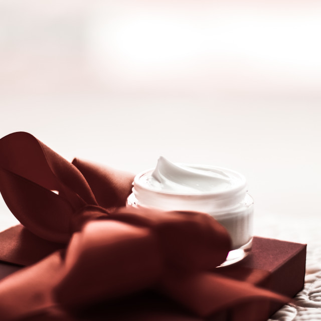 """""""Luxury face cream for sensitive skin and chocolate holiday gift box, spa..."""" stock image"""
