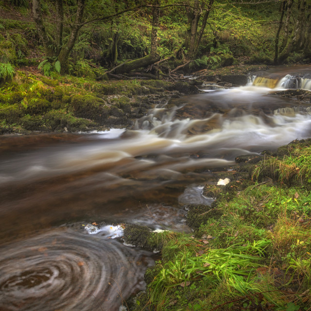 """A small cascade on the Afon Pyrddin River"" stock image"