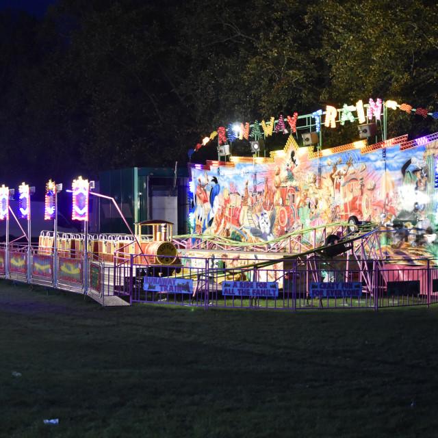 """Children's rollercoaster at Fun Fair"" stock image"