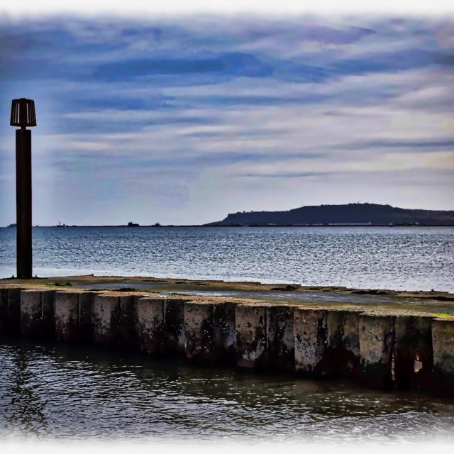 """Small Pier on Weymouth Beach"" stock image"