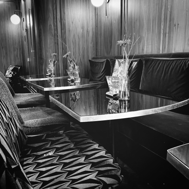 """""""Inside of Everyman Cinema in Black and White"""" stock image"""