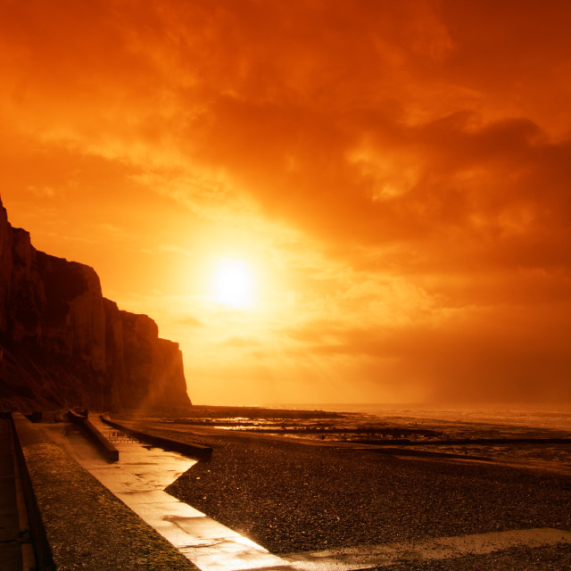 """Le treport sunset"" stock image"