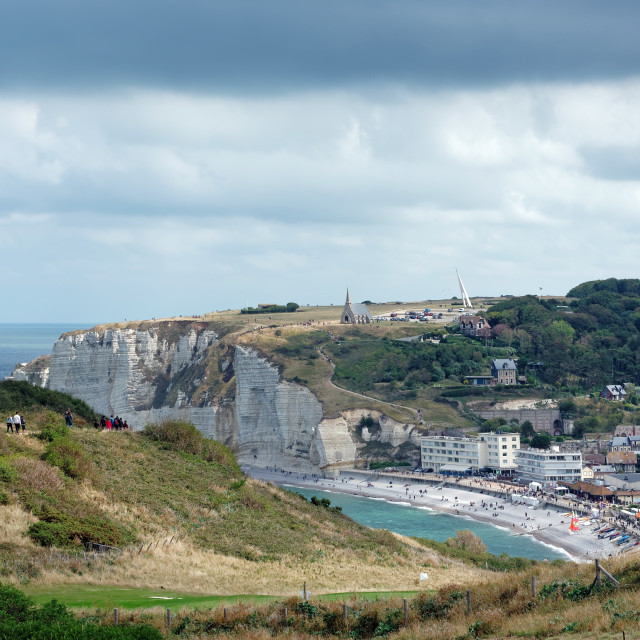 """Costal path to Etretat city"" stock image"