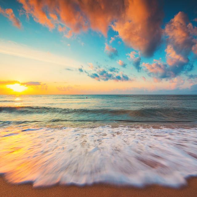 """""""Beautiful sunrise over the tropical sea"""" stock image"""
