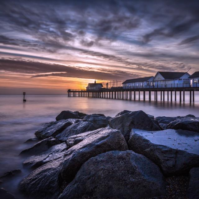 """Southwold Pier at Sunrise"" stock image"