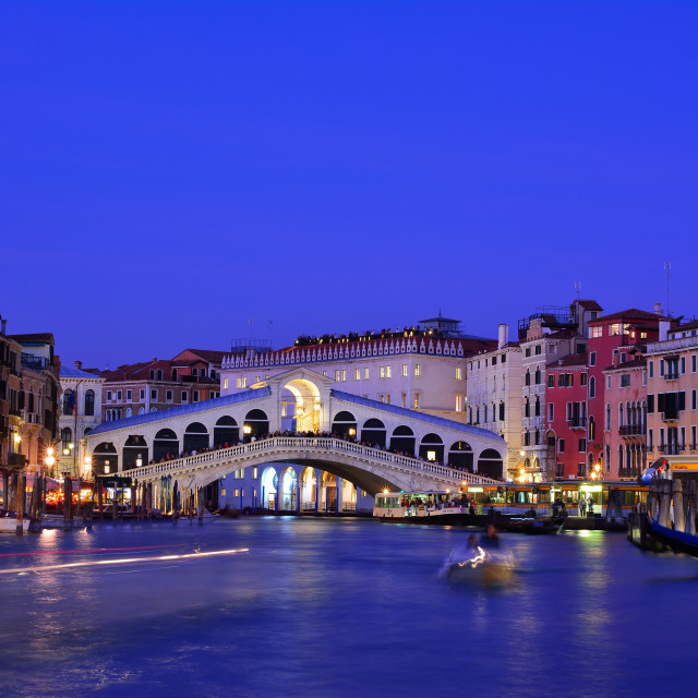 """Rialto Bridge and Grand Canal in a blue hour."" stock image"