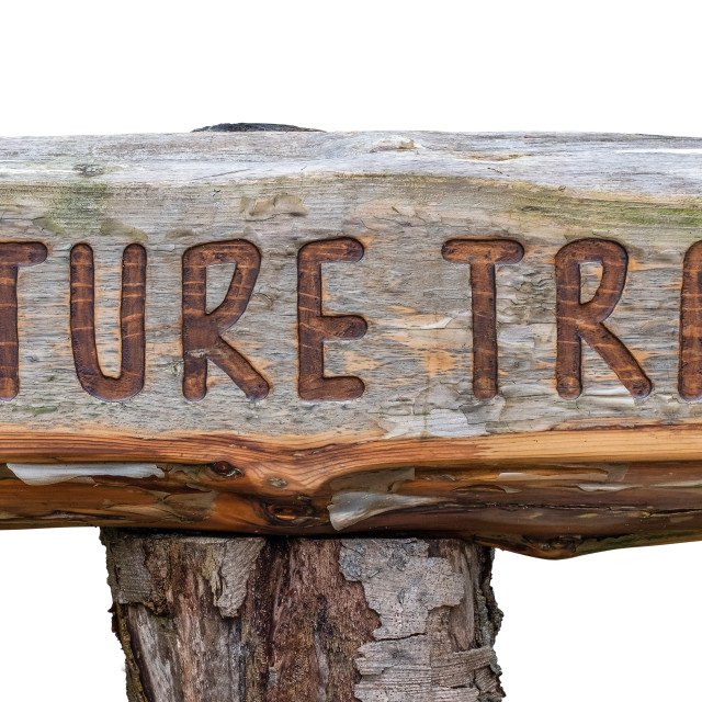 """""""Rustic Wooden Nature Trail Sign"""" stock image"""