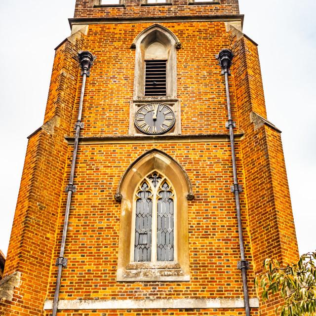 """St Johns Red Brick Church and Clock Windlesham, Surrey"" stock image"