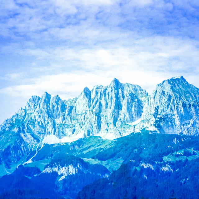 """Alps – Mono blue"" stock image"