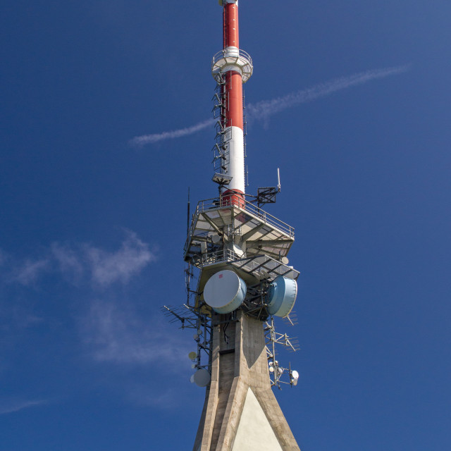 """Communications Mast and Half Moon"" stock image"