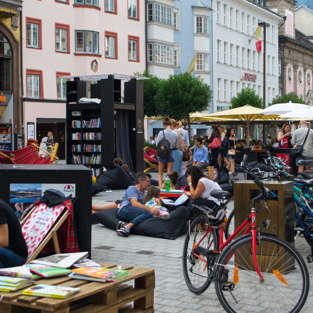 """Public Book Drop and Cafe, Innsbruck"" stock image"