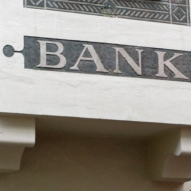 """Traditional Bank Sign"" stock image"