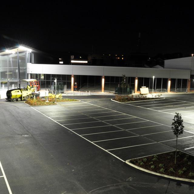 """Langney Shopping Centre at Night."" stock image"