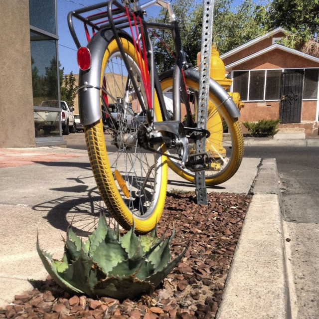 """Albuquerque, New Mexico, Old Town, Arlene Carol Graham, 2012, Yellow Bike"" stock image"