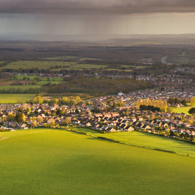 """Stormy morning over Wannock, Sussex."" stock image"