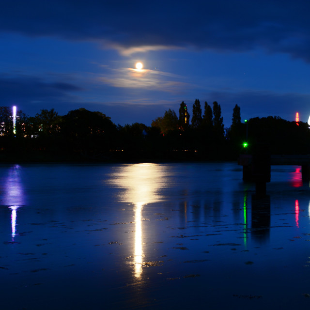 """Full Moon Reflecting Over Isle of WIght Festival"" stock image"