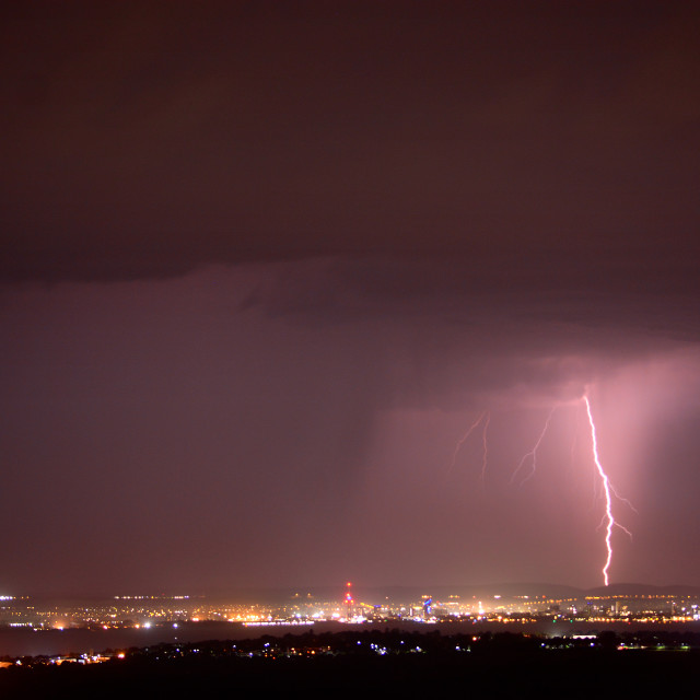"""Lightning Storm Striking Portsmouth Near Spinnaker Tower"" stock image"