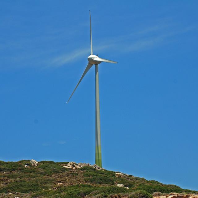 """Wind turbine, Tilos"" stock image"