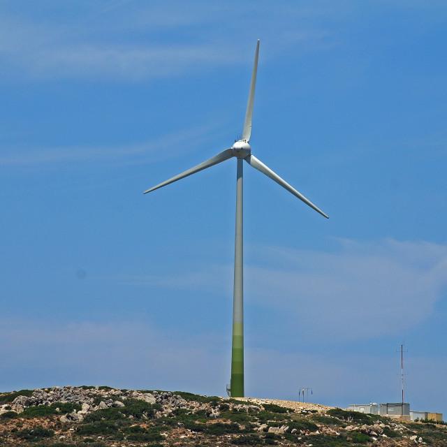"""""""Wind turbine on Tilos"""" stock image"""