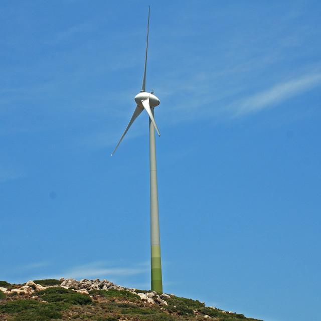 """""""Wind turbine, Tilos island"""" stock image"""