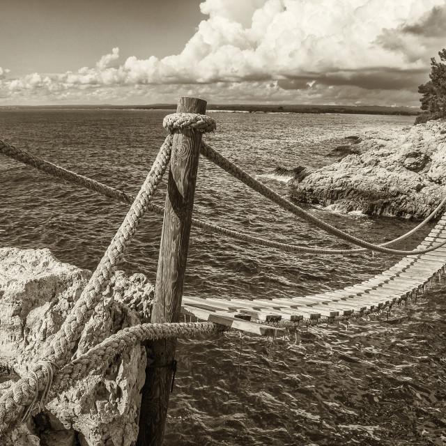 """Hanging wooden bridge"" stock image"