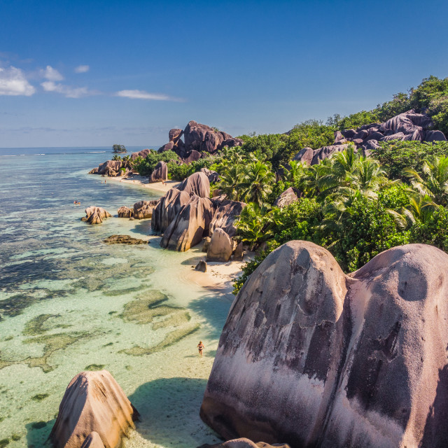 """""""Anse Source d'Argent taken from a drone"""" stock image"""