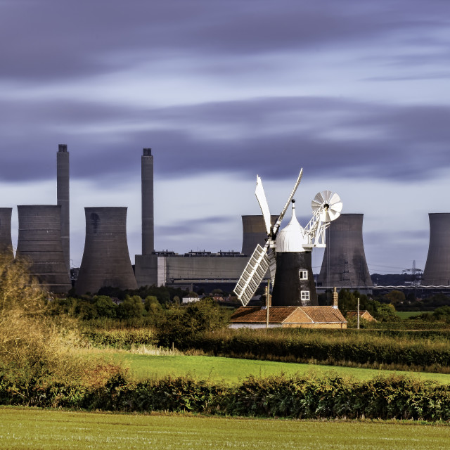 """""""West Burton Power Station and North Leverton Windmill"""" stock image"""