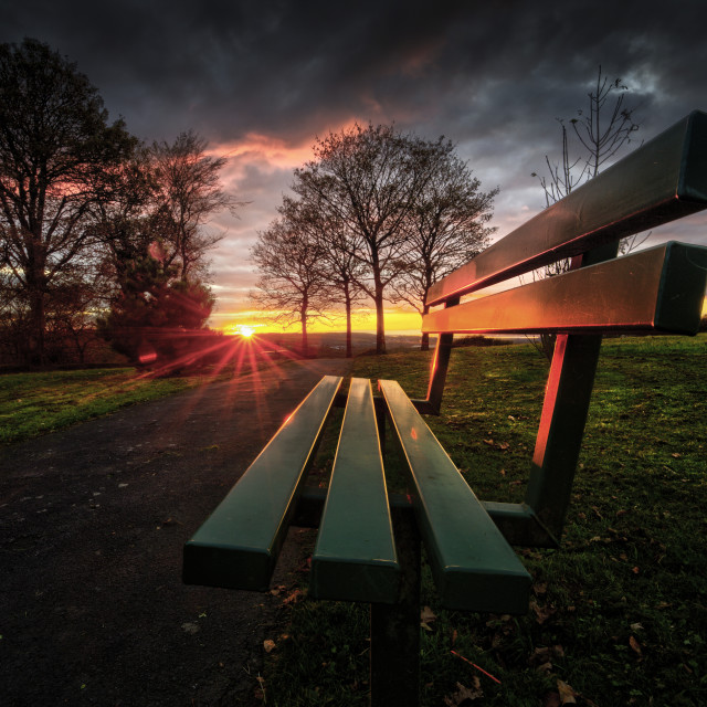 """Sunset at Ravenhill park"" stock image"