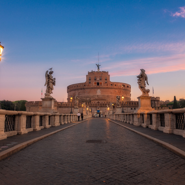 """Ponte Sant'Angelo at dawn with Castel Sant'Angelo in background."" stock image"