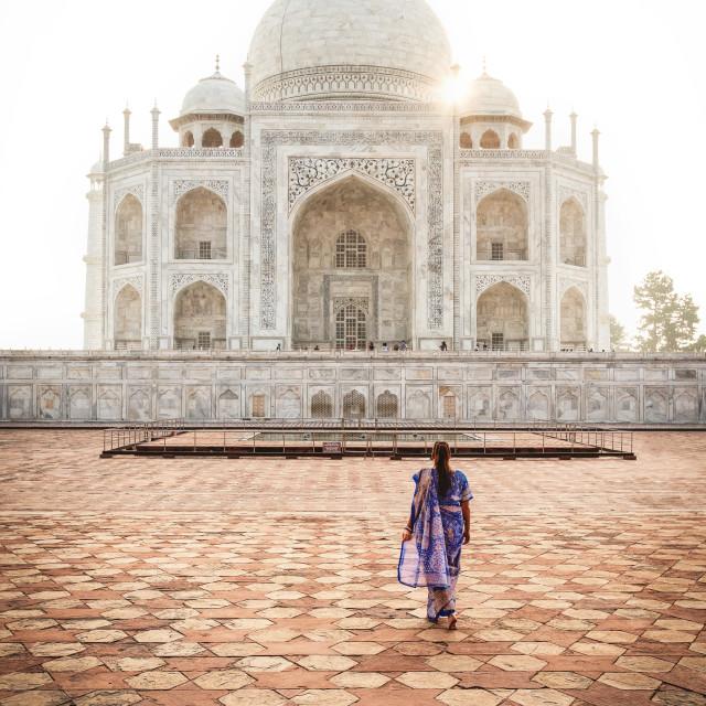 """Sunrise in Taj Mahal"" stock image"