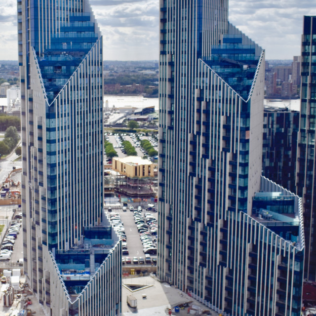 """""""Two newly built tower blocks not the south bank of the Thames"""" stock image"""