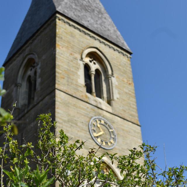 """English Village Church Tower"" stock image"