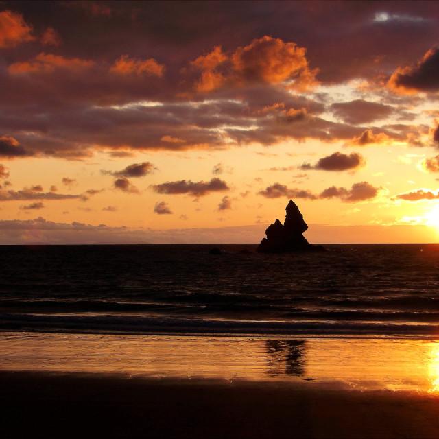 """Church Rock, Broadhaven South, Pembrokeshire at dawn."" stock image"