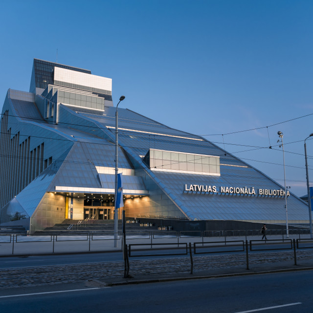 """Latvian National Library at dusk, Gaismas Pils, UNESCO World Heritage Site,..."" stock image"