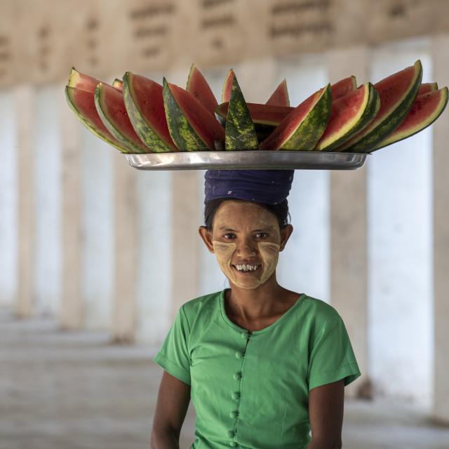 """Burmese lady selling water melons. Nyaung U., Bagan (Pagan), Myanmar (Burma),..."" stock image"