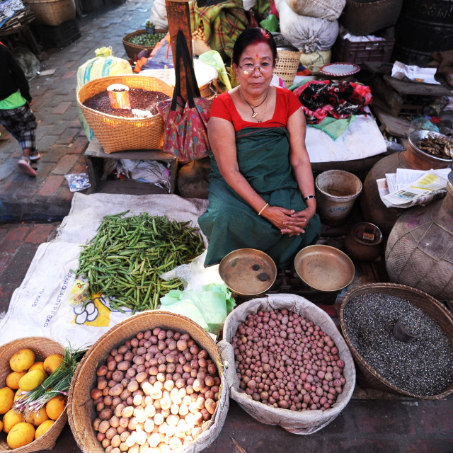 """""""Woman selling vegetables and black rice in Ima women's market, Imphal, Manipur"""" stock image"""